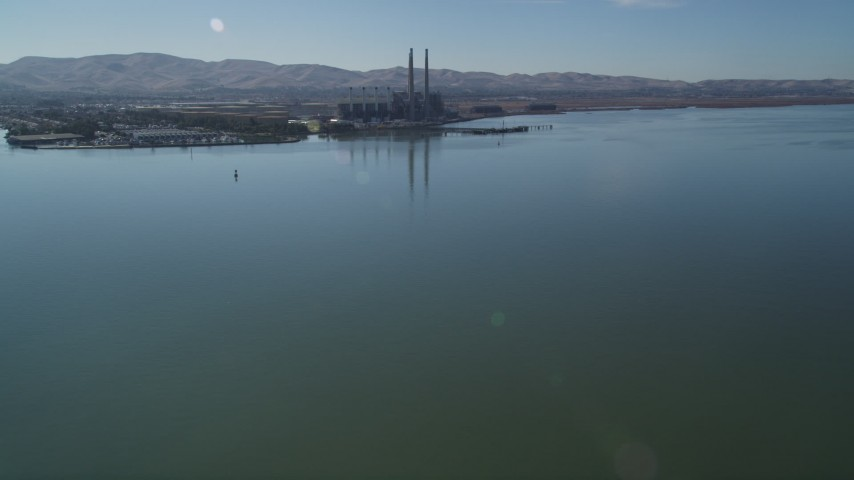 5K stock footage aerial video of approaching a waterfront power plant, Pittsburg, California Aerial Stock Footage | DFKSF08_098