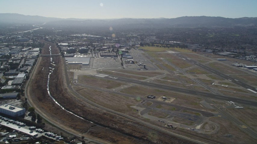 5K stock footage aerial video of approaching Buchanan Field Airport, Concord, California Aerial Stock Footage   DFKSF08_112