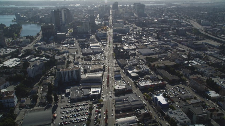 5K stock footage aerial video of tilting from Broadway to reveal Downtown Oakland, California Aerial Stock Footage | DFKSF09_014