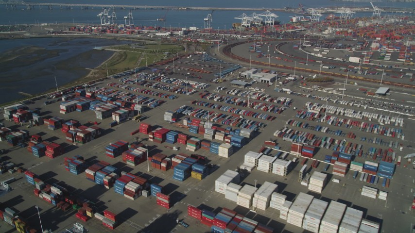5K stock footage aerial video flyby shipping containers at the Port of Oakland, California Aerial Stock Footage | DFKSF09_021