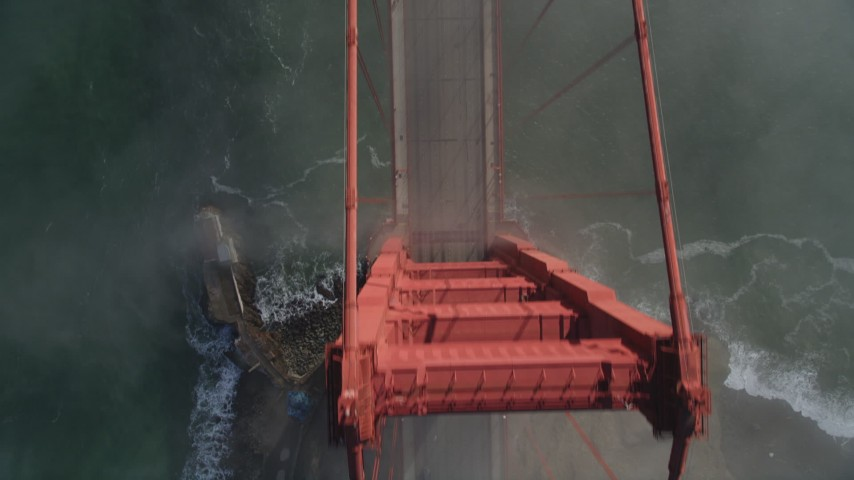 5K stock footage aerial video of bird's eye view of light traffic on the Golden Gate Bridge, San Francisco, California Aerial Stock Footage | DFKSF09_028