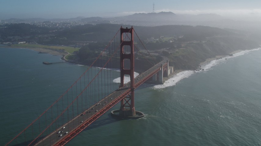 5K stock footage aerial video of flying by the famous Golden Gate Bridge, San Francisco, California Aerial Stock Footage | DFKSF09_034