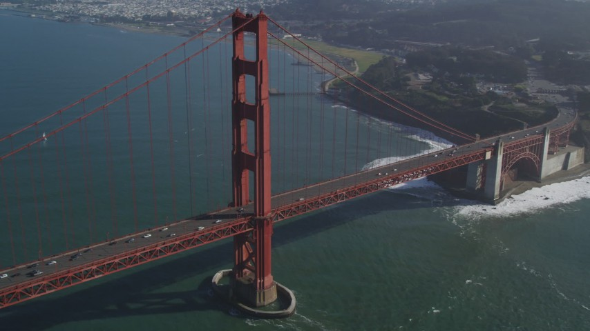 5K stock footage aerial video of light traffic on the Golden Gate Bridge, San Francisco, California Aerial Stock Footage | DFKSF09_035