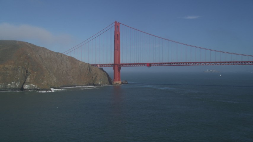 5K stock footage aerial video of flying by Marin side of iconic Golden Gate Bridge in San Francisco, California Aerial Stock Footage | DFKSF09_036