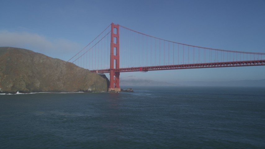 5K stock footage aerial video of the Marin side of Golden Gate Bridge, San Francisco, California Aerial Stock Footage | DFKSF09_037