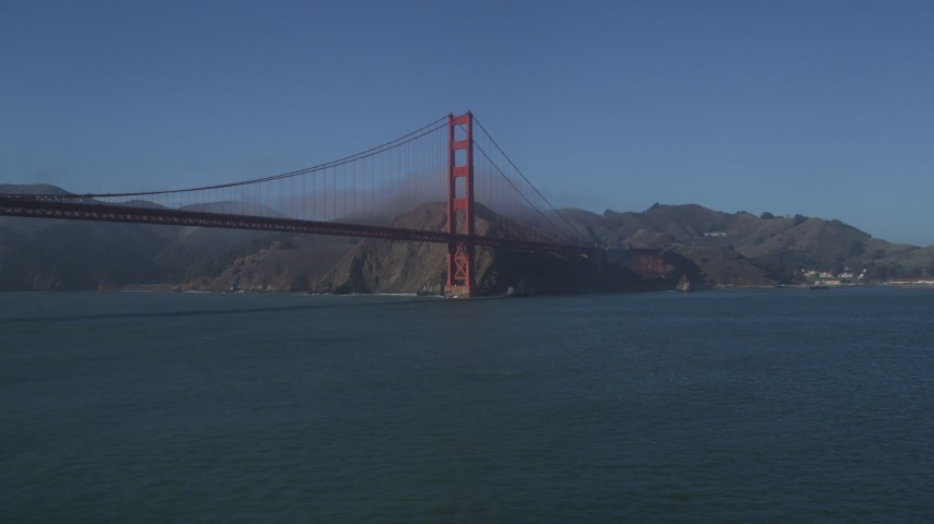 5K stock footage aerial video of the Marin side of Golden Gate Bridge, San Francisco, California Aerial Stock Footage | DFKSF09_038