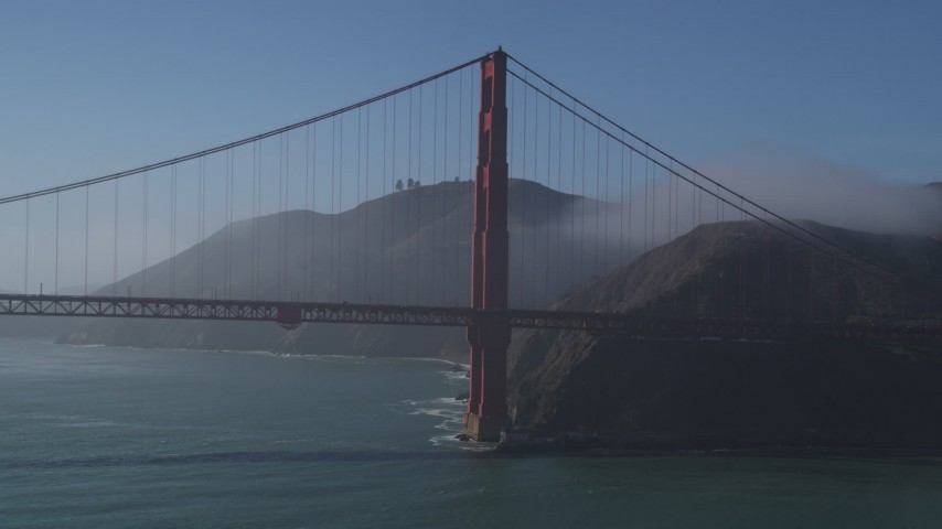 5K stock footage aerial video of passing the Marin side of Golden Gate Bridge, San Francisco, California Aerial Stock Footage | DFKSF09_039