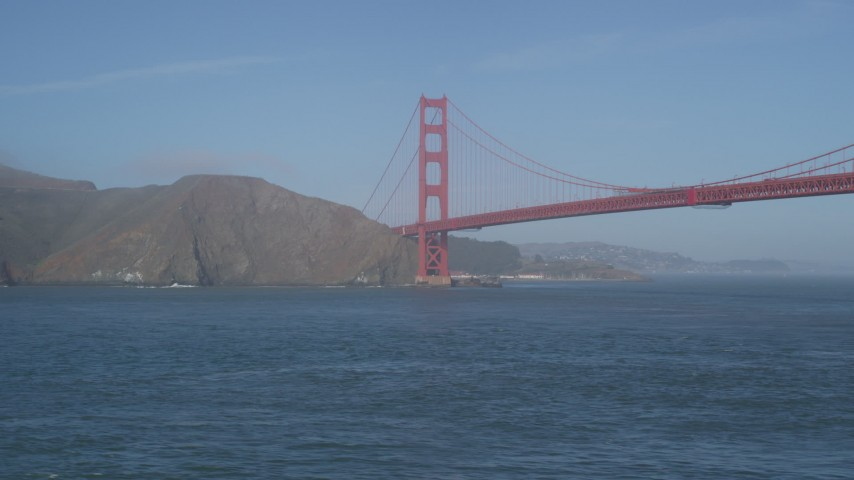 5K stock footage aerial video of the Marin side of the famous Golden Gate Bridge, San Francisco, California Aerial Stock Footage | DFKSF09_040