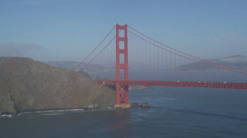 5K aerial video approach the Marin side of iconic Golden Gate Bridge, San Francisco, California Aerial Stock Footage | DFKSF09_041