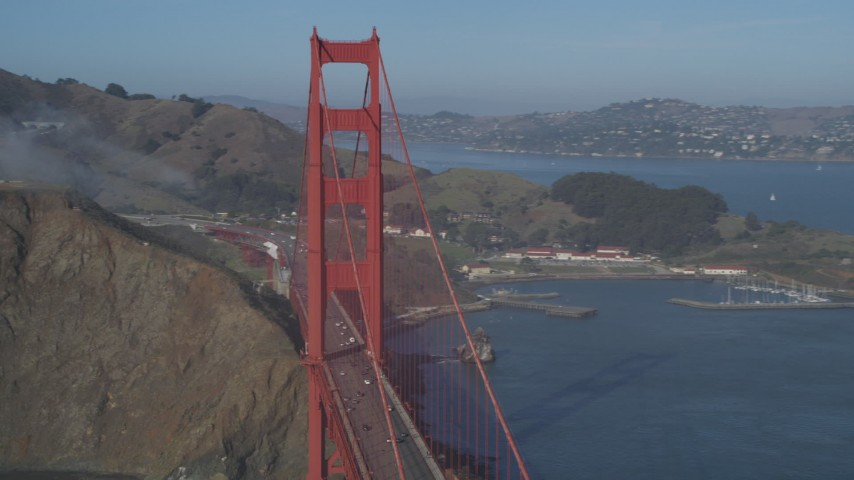 5K stock footage aerial video of passing a tower on the Marin side of the Golden Gate Bridge, San Francisco, California Aerial Stock Footage | DFKSF09_042