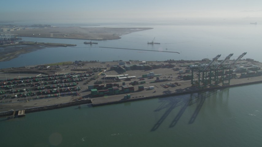 5K stock footage aerial video flyby the Port of Oakland, California Aerial Stock Footage | DFKSF09_055