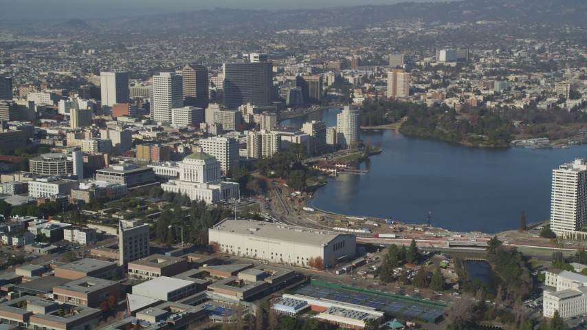 5K stock footage aerial video flyby Downtown Oakland and Lake Merritt, California Aerial Stock Footage | DFKSF09_059