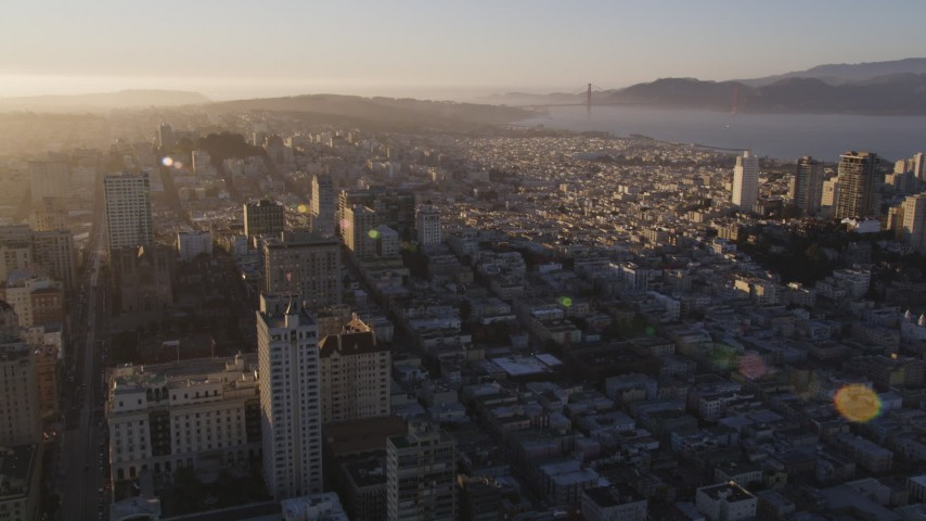 5K stock footage aerial video fly over Russian Hill, approach Marina District in San Francisco, California, sunset Aerial Stock Footage   DFKSF10_001