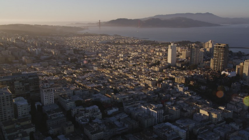 5K stock footage aerial video pan across Marina District to Russian Hill, San Francisco, California, sunset Aerial Stock Footage | DFKSF10_002