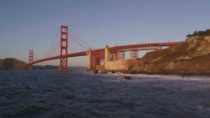 5K stock footage aerial video of approaching Golden Gate Bridge, San Francisco, California, sunset Aerial Stock Footage | DFKSF10_027