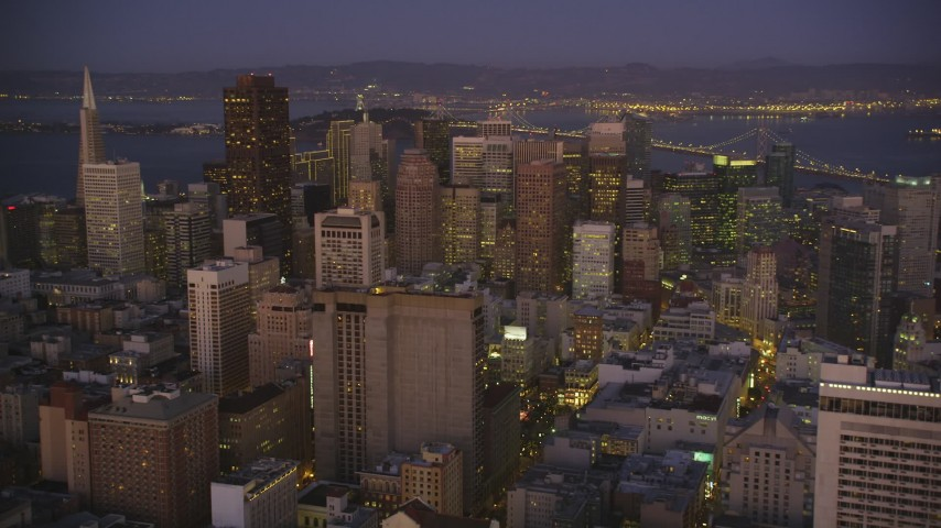 5K stock footage aerial video of approaching Downtown San Francisco skyscrapers, California, twilight Aerial Stock Footage | DFKSF10_081