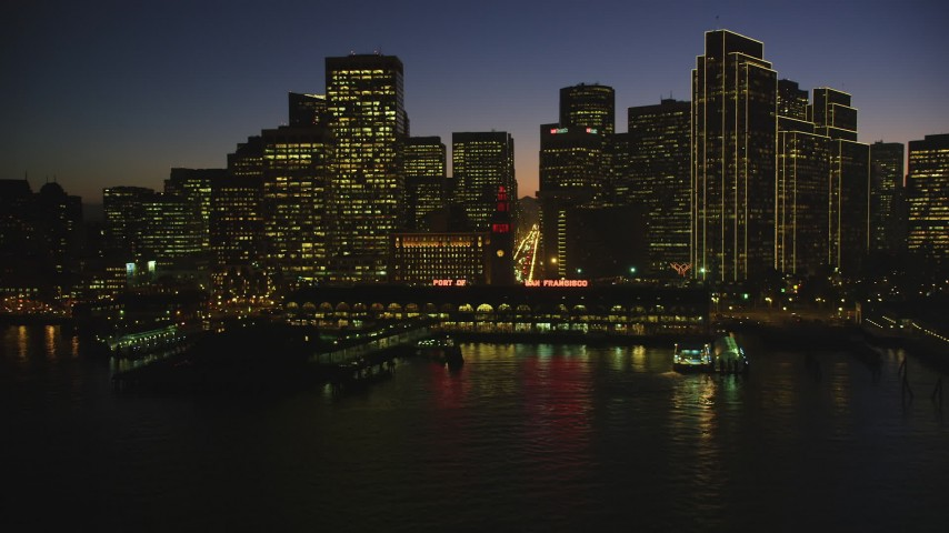 5K stock footage aerial video of the Ferry Building and skyline of Downtown San Francisco, California, night Aerial Stock Footage | DFKSF10_093