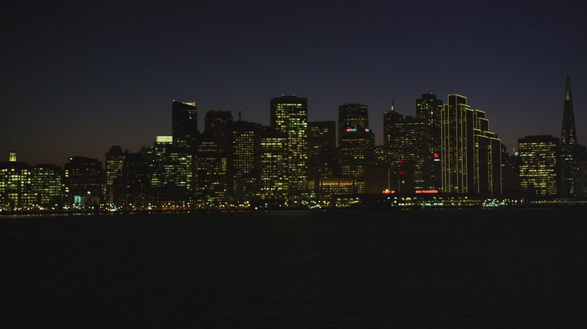 5K stock footage aerial video of the city's downtown skyline in Downtown San Francisco, California, night Aerial Stock Footage | DFKSF10_103
