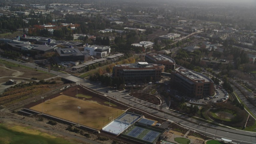 5K stock footage aerial video of flying by Googleplex, Mountain View, California Aerial Stock Footage | DFKSF11_013
