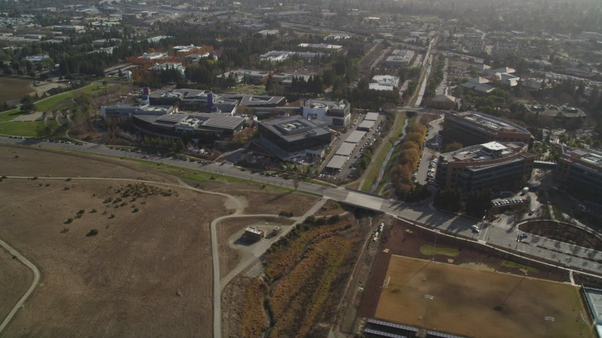 5K stock footage aerial video of flying by Googleplex office complex, Mountain View, California Aerial Stock Footage | DFKSF11_015