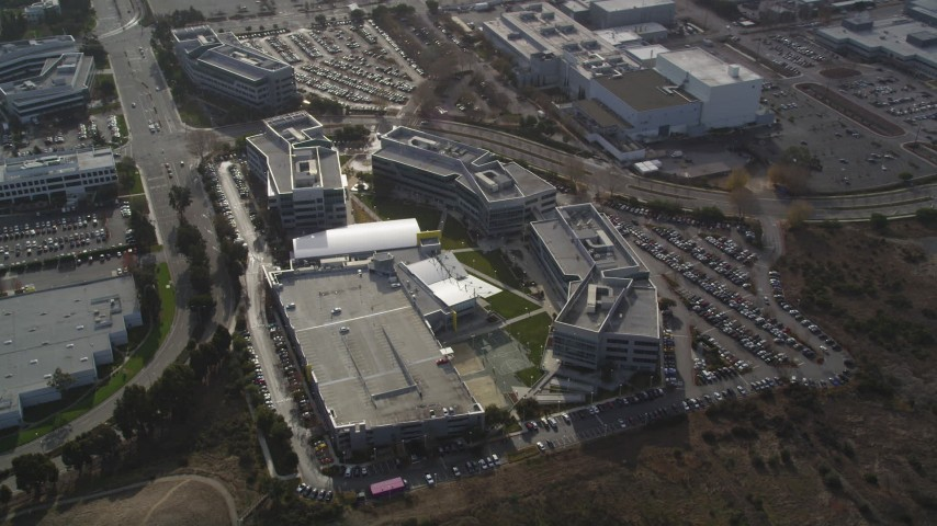 5K stock footage aerial video of an orbit of Yahoo! Campus office buildings, Sunnyvale, California Aerial Stock Footage | DFKSF11_022