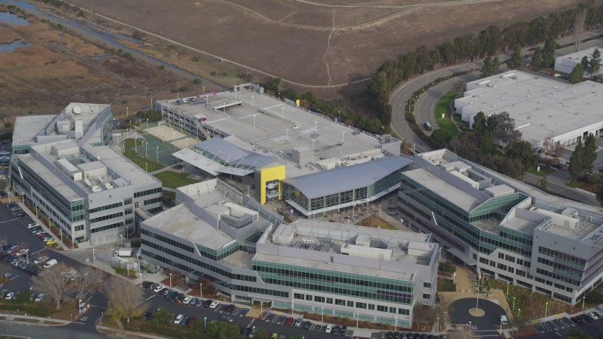 5K stock footage aerial video of circling the Yahoo! Campus office buildings, Sunnyvale, California Aerial Stock Footage DFKSF11_023 | Axiom Images