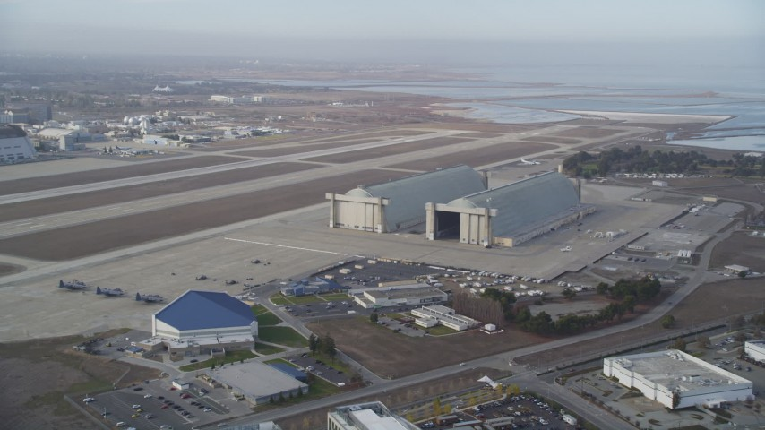 5K stock footage aerial video of Hangars 2 and 3 at Moffett Field, Mountain View, California Aerial Stock Footage | DFKSF11_024