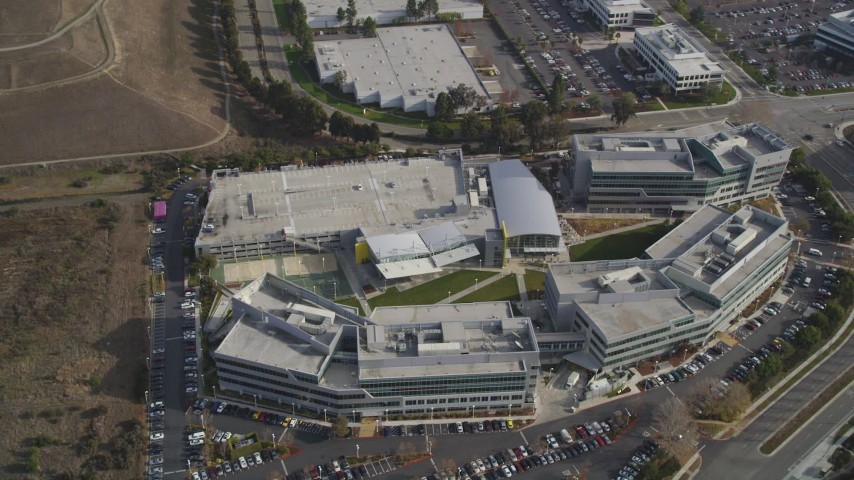 5K stock footage aerial video tilt to reveal Yahoo! Campus office buildings, Sunnyvale, California Aerial Stock Footage | DFKSF11_025