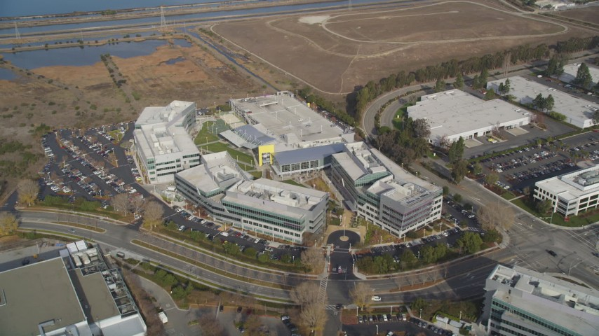 5K stock footage aerial video of flying away from Yahoo! Campus office buildings in Sunnyvale, California Aerial Stock Footage | DFKSF11_026