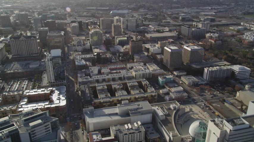 5K stock footage aerial video tilt from West San Fernando Street, revealing Downtown San Jose office buildings, California Aerial Stock Footage   DFKSF12_003