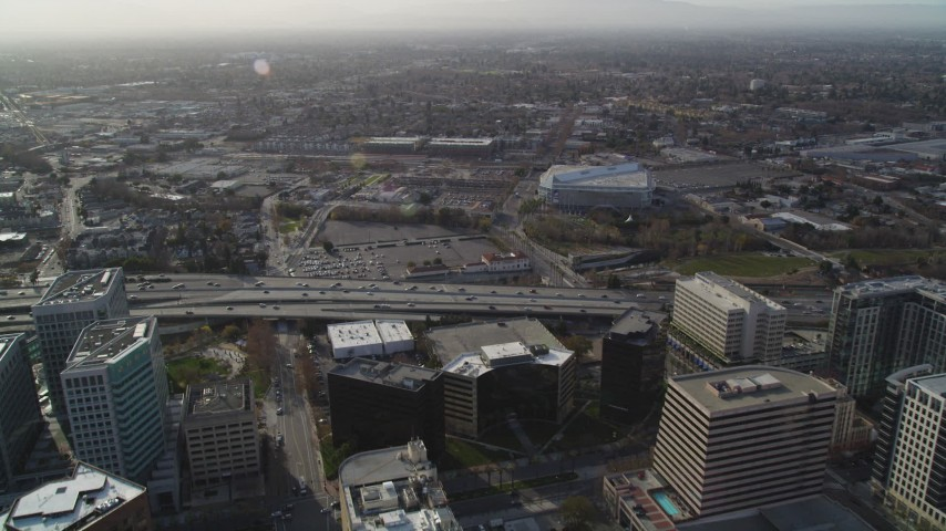 5K stock footage aerial video of flying over Highway 87 in Downtown San Jose, California Aerial Stock Footage | DFKSF12_005