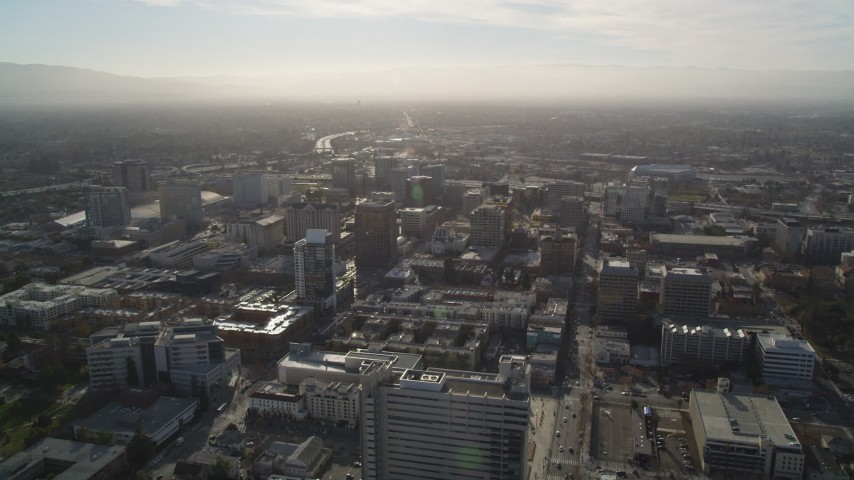 5K stock footage aerial video of a wide view of Downtown San Jose, California Aerial Stock Footage | DFKSF12_007