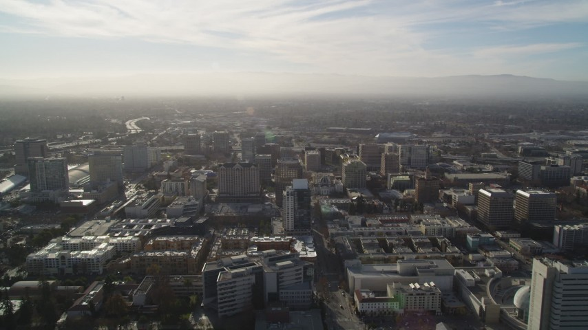 5K stock footage aerial video of flying by Downtown San Jose, California Aerial Stock Footage | DFKSF12_008