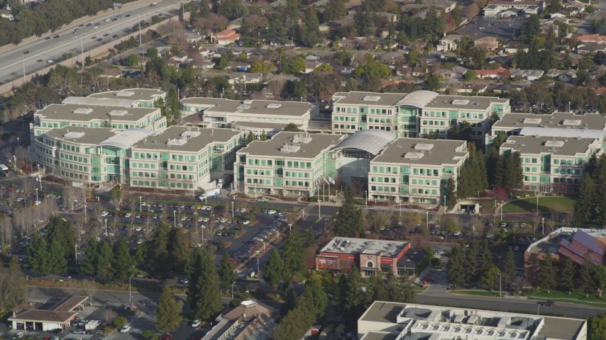 5K stock footage aerial video of Valley Green Drive and Apple Headquarters office buildings, Cupertino, California Aerial Stock Footage | DFKSF12_018