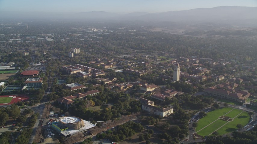 5K aerial video of flying by Stanford University campus in Stanford, California Aerial Stock Footage | DFKSF12_020