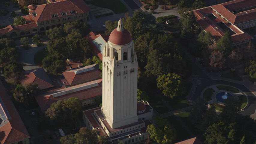 5K stock footage aerial video of orbiting Hoover Tower at Stanford University, California Aerial Stock Footage | DFKSF12_023