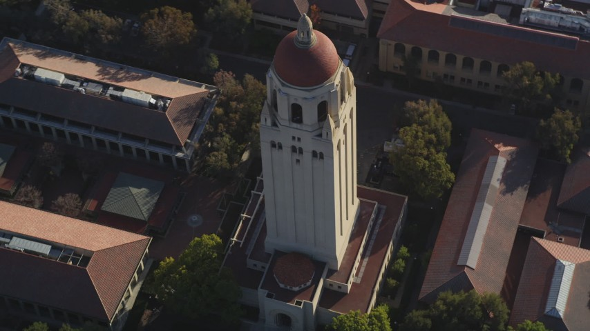 5K stock footage aerial video of orbiting Hoover Tower at Stanford University, Stanford, California Aerial Stock Footage | DFKSF12_024