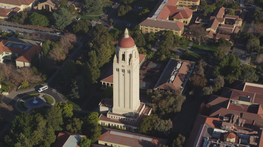 5K stock footage aerial video of flying away from Hoover Tower at Stanford University, Stanford, California Aerial Stock Footage | DFKSF12_025