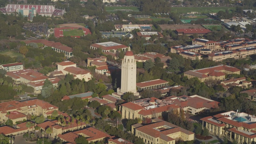 5K aerial video of flying away from Hoover Tower and Stanford University, Stanford, California Aerial Stock Footage | DFKSF12_026
