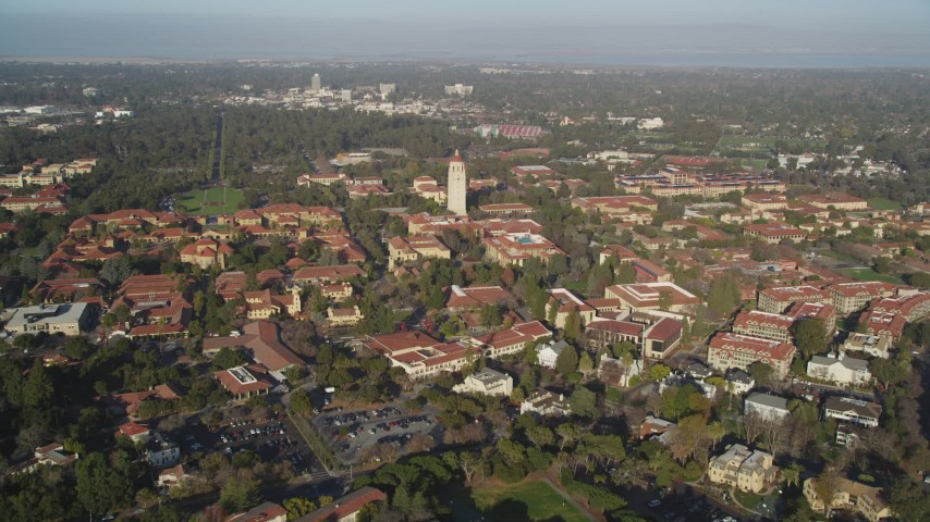 5K aerial video tilt to reveal and approach Hoover Tower and Stanford University, Stanford, California Aerial Stock Footage | DFKSF12_028
