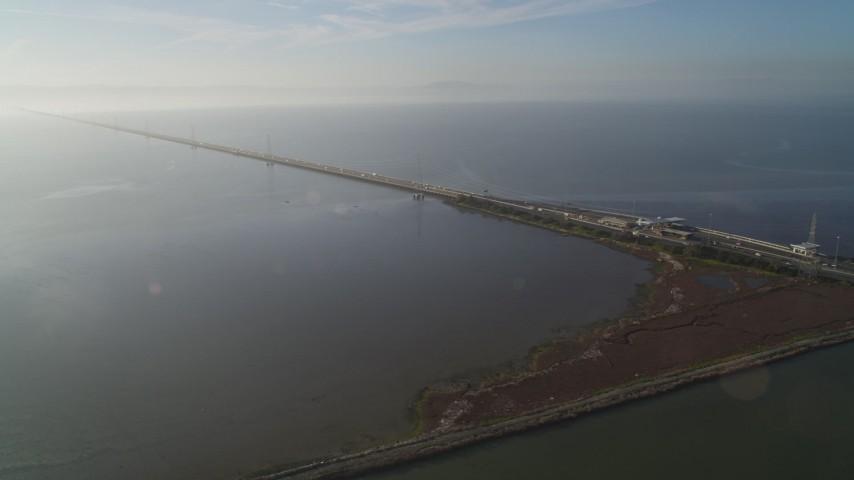 5K stock footage aerial video of the San Mateo Bridge, Hayward, California Aerial Stock Footage | DFKSF12_038