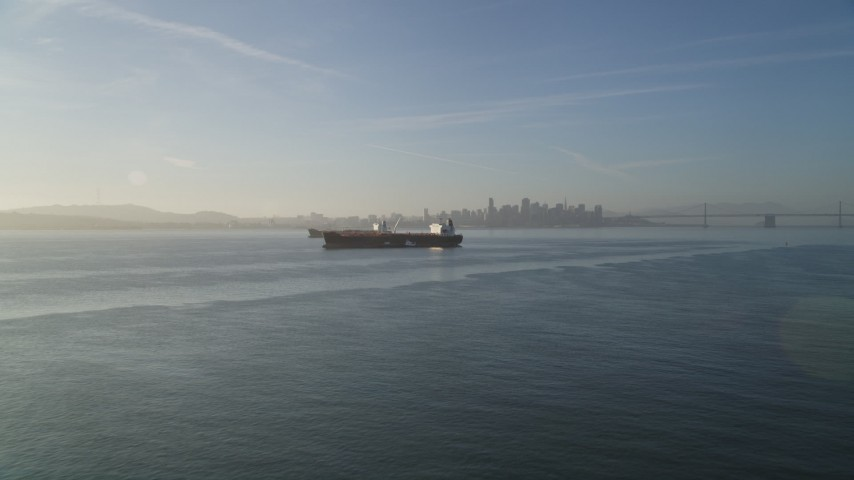 5K stock footage aerial video of two oil tankers on San Francisco Bay, San Francisco, California Aerial Stock Footage | DFKSF13_002