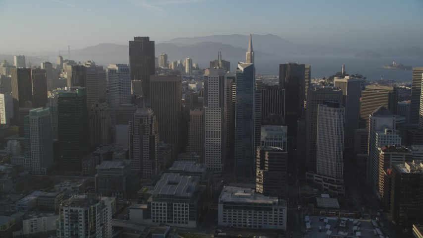 5K stock footage aerial video of approaching city skyscrapers in Downtown San Francisco, California Aerial Stock Footage | DFKSF13_014