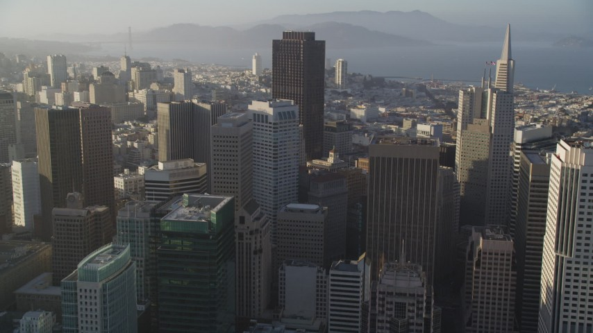 5K stock footage aerial video of approaching skyscrapers and tilting to a group of them in Downtown San Francisco, California Aerial Stock Footage | DFKSF13_015