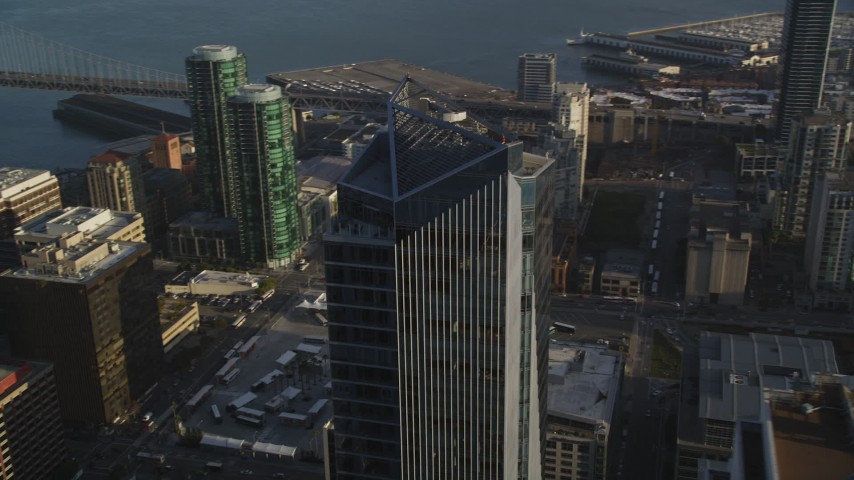 5K stock footage aerial video of an orbit of the Millennium Tower skyscraper in Downtown San Francisco, California Aerial Stock Footage | DFKSF13_017