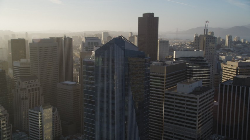 5K stock footage aerial video of circling the Millennium Tower skyscraper in Downtown San Francisco, California Aerial Stock Footage | DFKSF13_018