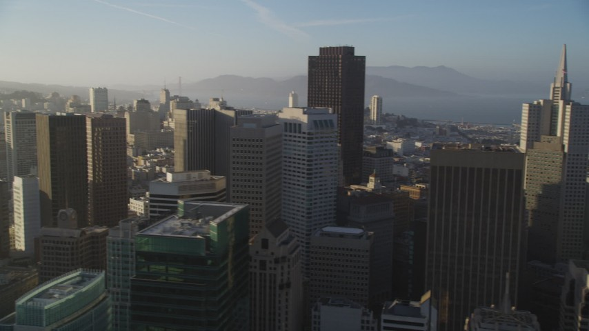 5K stock footage aerial video of panning across the city's skyscrapers, Downtown San Francisco, California Aerial Stock Footage   DFKSF13_019
