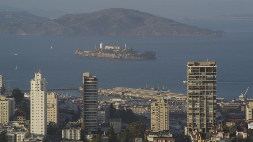 5K stock footage aerial video of a view of Alcatraz prison from Russian Hill,  San Francisco, California Aerial Stock Footage | DFKSF13_027