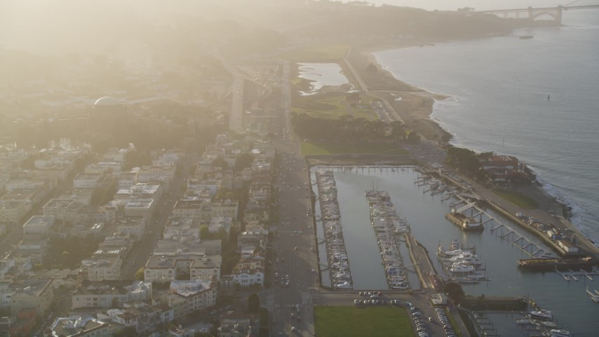 5K stock footage aerial video of flying over Marina District, tilt to apartment buildings, San Francisco, California Aerial Stock Footage | DFKSF13_034