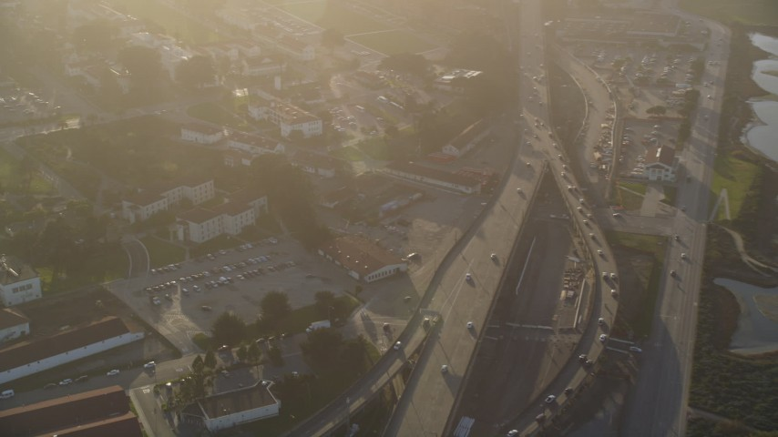 5K aerial video of panning from Crissy Field to The Presidio, San Francisco, California Aerial Stock Footage | DFKSF13_035